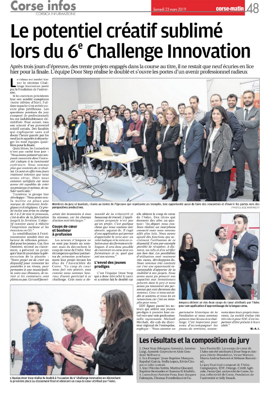 Challenge Innovation Article du Corse Matin